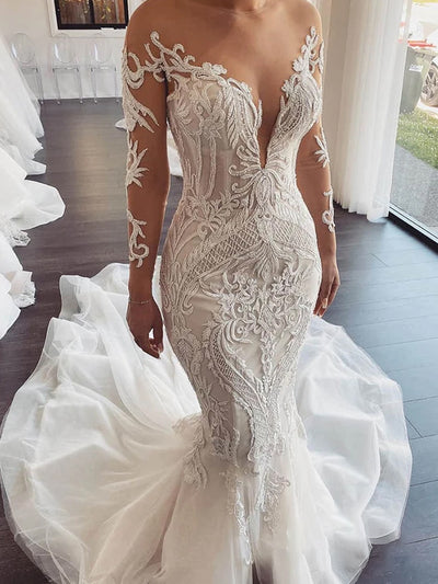 onlybridals UNIQUE ILLUSION NECKLINE LUXURY LACE APPLIQUES MERMAID WEDDING DRESS