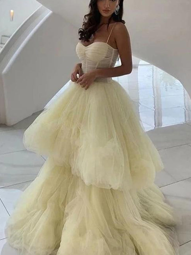 onlybridals Yellow Tulle Sweetheart A-Line Long Prom Dress