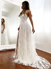 Lace Beach Wedding Dresses V-neck Backless Bridal Gown With Split