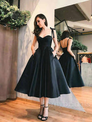 onlybridals Cute black satin short prom dress, homecoming dress - onlybridals