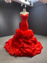 Strapless mermaid red ball gown bridal wedding dress