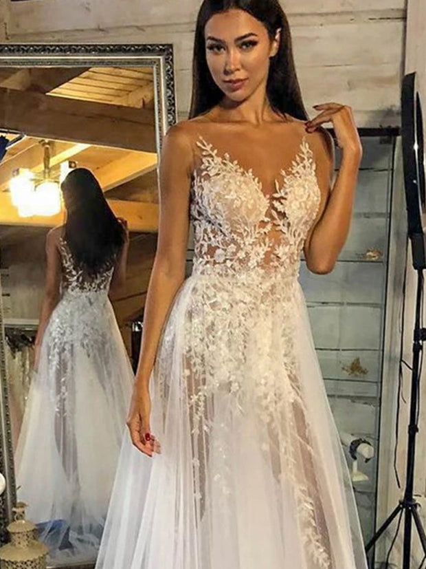 V-neck Elegant Lace Wedding Dresses Newest See Through Lace A-line Wedding Dresses