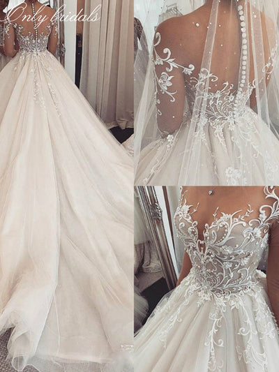 onlybridals 2020 Sheer Long Sleeves Lace Wedding Dress Custom Made Illusion A-Line Bride Gowns