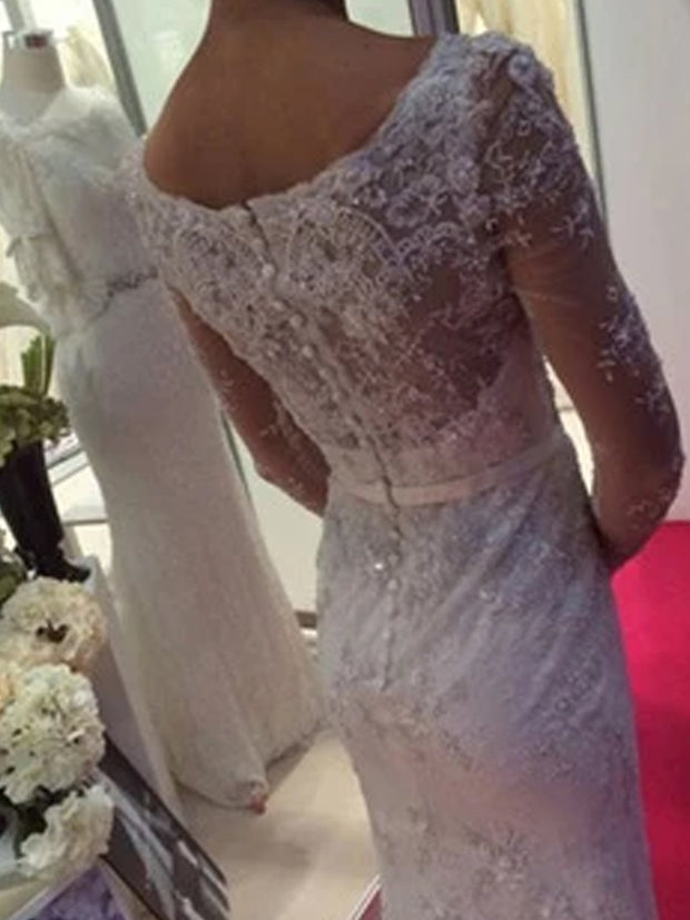 Elegant White Beaded Long Sleeve Mermaid Scoop Neck Wedding Dresses