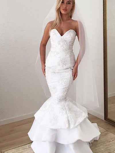 Modern Sweetheart White Lace Applique Mermaid Strapless Long Wedding Dress
