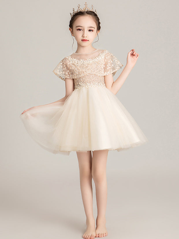 onlybridals Flower Girl Dresses Beading Sash Ball Gowns Lace Appliques Floor Length Flower Girls Princess