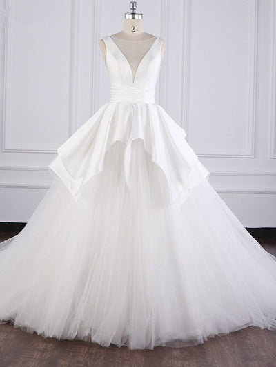 Chic Ball Gown Jewel Layers Tulle Wedding Dress White Sleeveless Ruffles Bridal Gowns Online