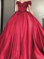 onlybridals Off the Shoulder Lace Appliques Burgundy Satin Wedding Dresses Ball Gowns Corset Back Bridal Gowns