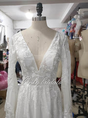 onlybridals Lace Wedding Dresses With Deep V-neck Flare Sleeve Split Long  Factory real pictures Wedding Gowns - onlybridals