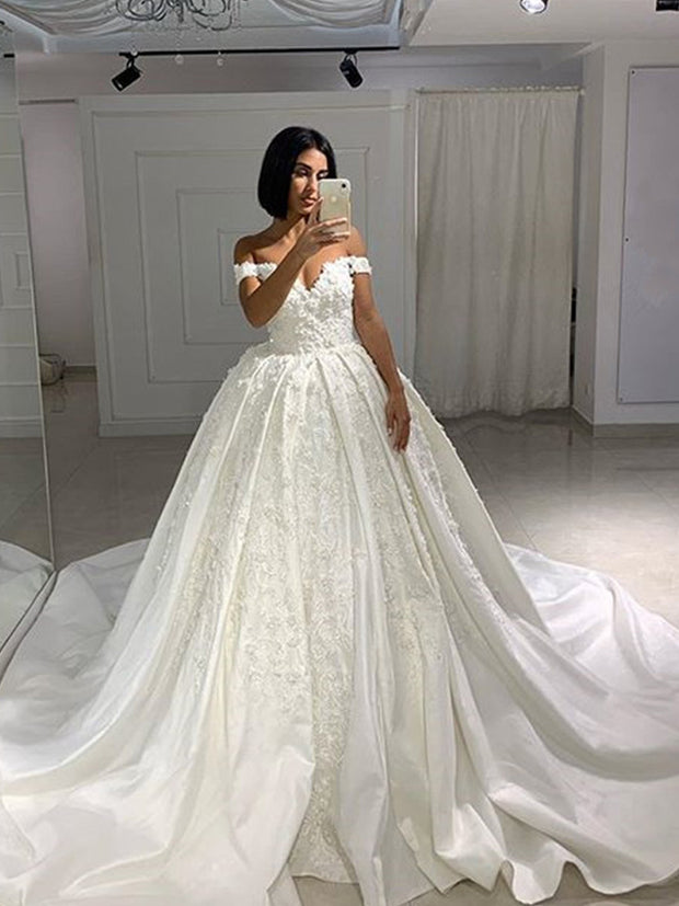 onlybridals Luxury Beads Lace Ball Gown Wedding Dresses 2020 Sexy Open Back Cap Sleeve Wedding Bridal Gowns - onlybridals