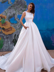 onlybridals Simple Off Shoulder Sweetheart Satin Ruffled Long Wedding Dress - onlybridals
