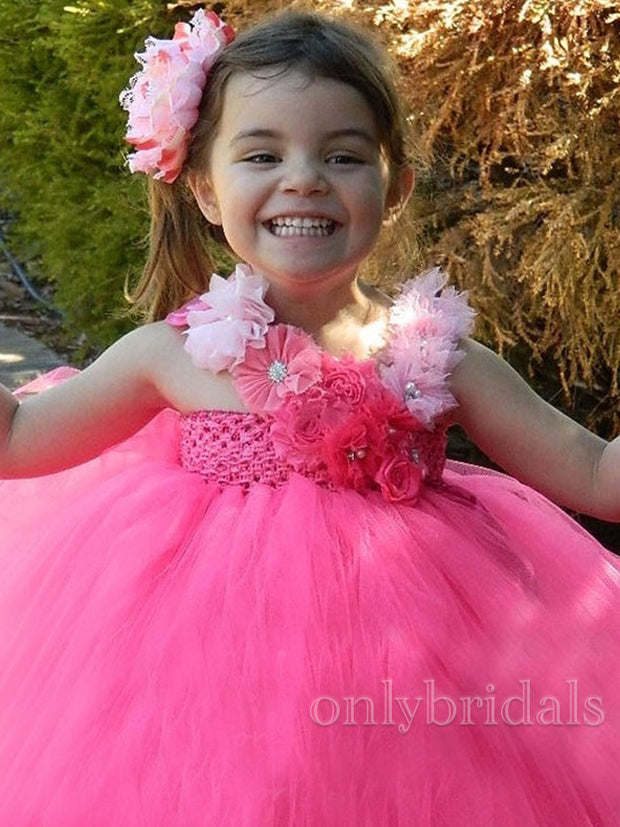 onlybridals Hot Girls Pink Flower Tutu Dress Baby Crochet Tulle Dress Long Ball Gown with Headband Children Birthday Party Costume Dresses - onlybridals
