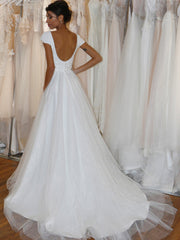onlybridals Cap Sleeve Wedding Dress Long Train Wedding Dress Scoop Back Wedding Dress Flowing Wedding Dress,