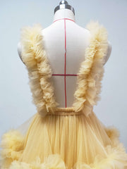 onlybridals Yellow maternity dress ruffled tulle dress photo shooting dress custom color