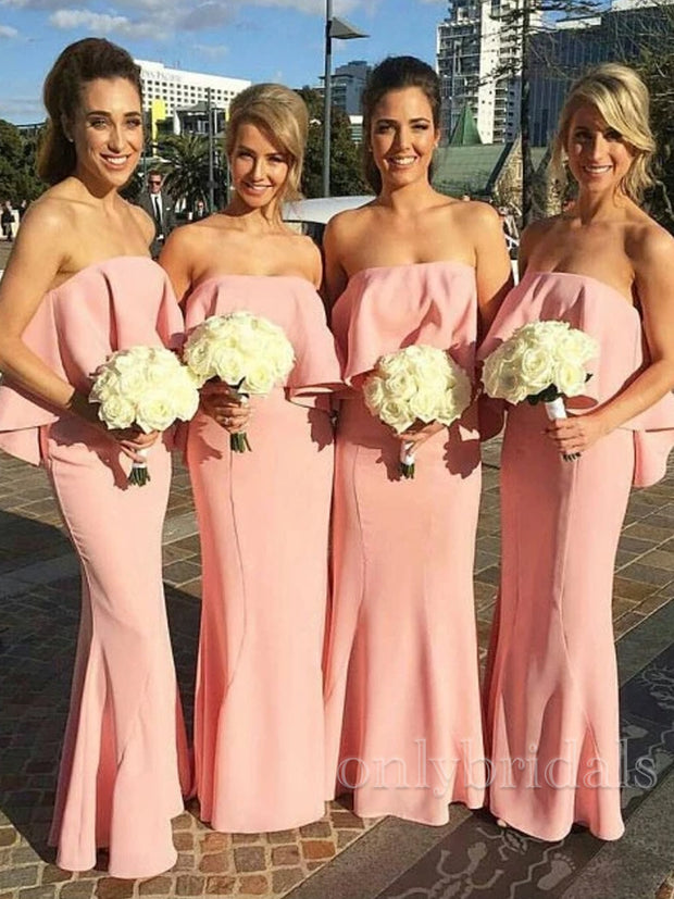 onlybridals  Simple Pink Strapless Sleeveless Long Satin Bridesmaid Dresses