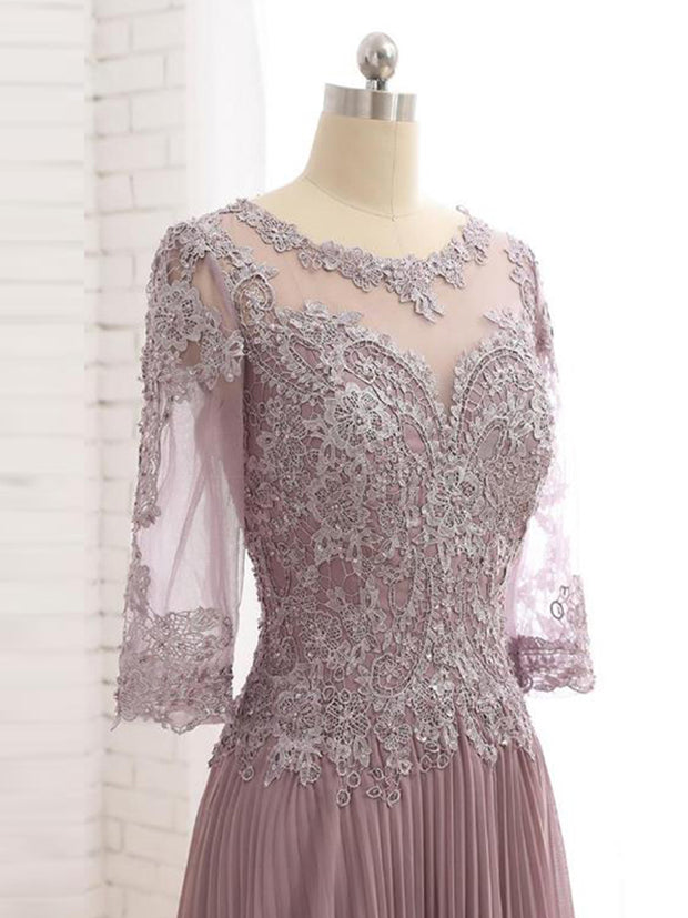 onlybridals 2021 Charming Dusty Rose Lace Jewel Neck Mother of the Bride Dresses With Three Quarter Sleeves Wedding
