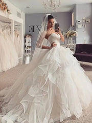 PLEATS RUFFLES BALL GOWN SWEETHEART TULLE WEDDING DRESS