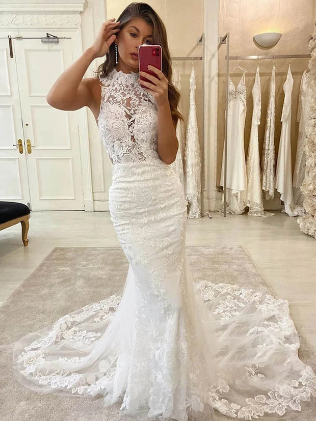 onlybridals mermaid wedding dress chic high neck lace wedding gowns with court train