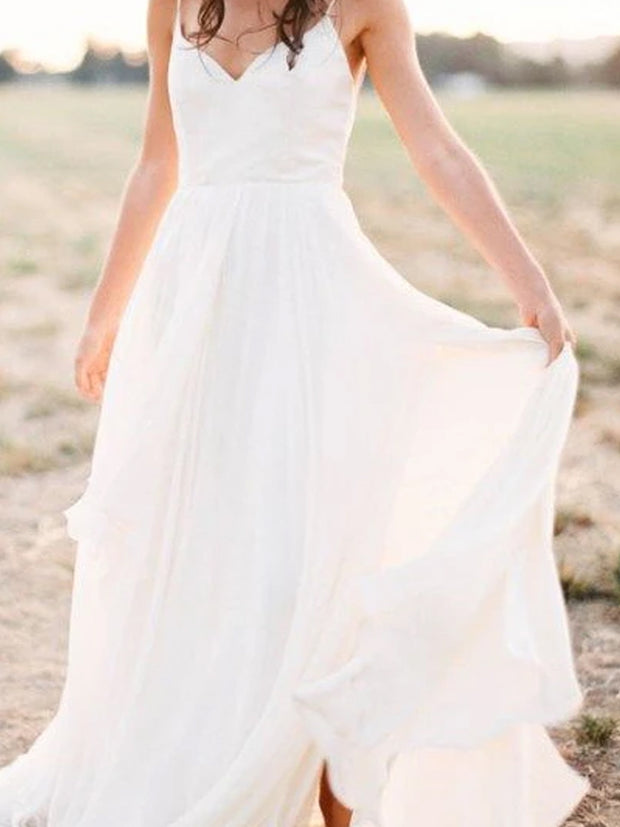 Simple Spaghetti Strap Chiffon Beach Wedding Dresses
