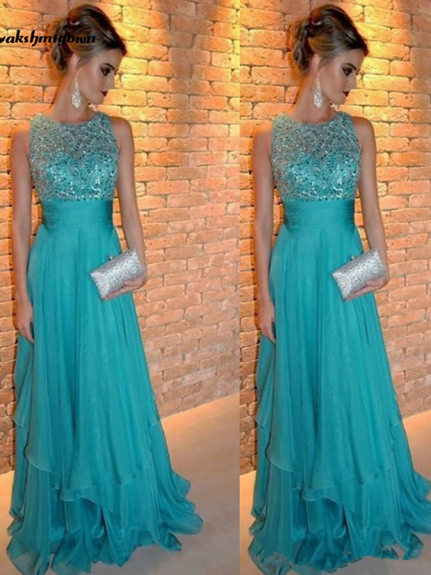 onlybridals Sequined Top Mother of the Bride Dresses 2021 vestido de festa Chiffon Formal Pageant Evening Dress Evening Wedding Party Dress