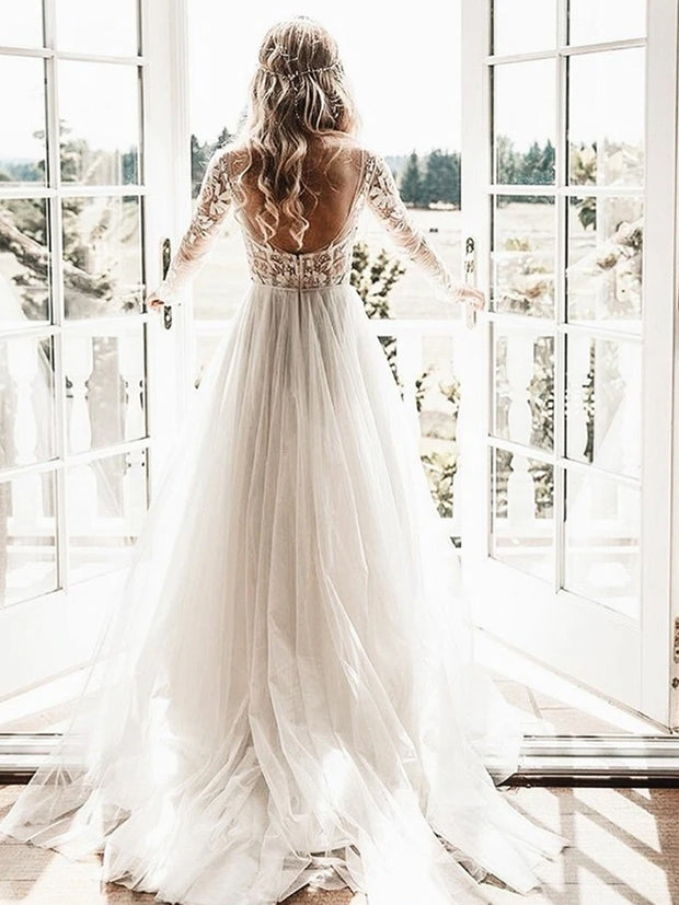A-Line Sheer Bateau Backless Wedding Dresses With Appliques Long Sleeves