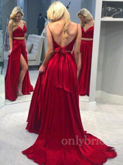 onlybridals A-Line Long Red Two Pieces Prom Dresses Formal Evening - onlybridals