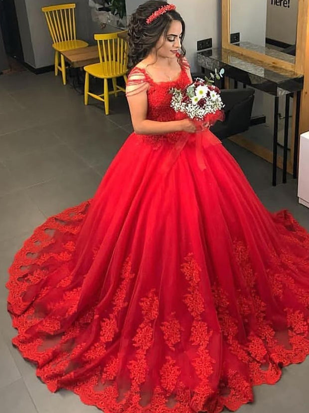 onlybridals  Red Ball Gown Wedding Dress Lace Appliques Beaded Plus Size Custom Bridal Gowns