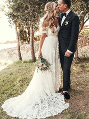 A-Line Off-Shoulder Bohemian Appliques Wedding Dresses