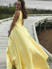 V-neck A-line Yellow Satin Long Prom Dresses