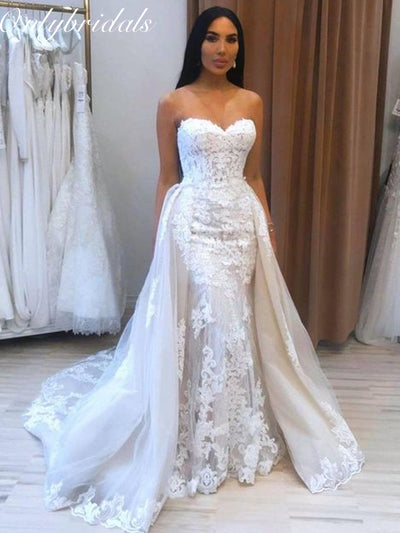 onlybridals Sexy Sweetheart Lace Detachable skirt Mermaid Wedding Dresses