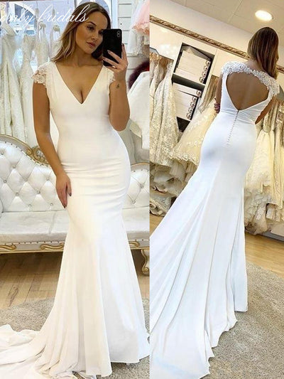 onlybridals Deep V Neck Beach Mermaid Wedding Dresses Cap Sleeve Hollow Back Sweep Train Appliques Country Garden - onlybridals