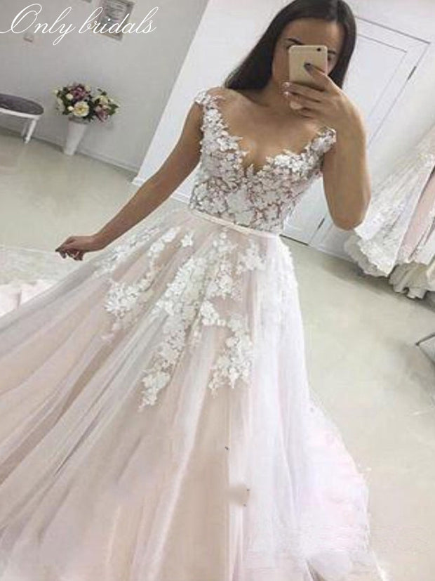 onlybridals Wedding Dress 2019 Vestidos de Novia Tulle Lace with Belt Bride Dress Sleeveless Long