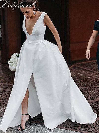 onlybridals 2020 Sexy A-line Wedding Dresses Deep V-neck White Ivory Satin Wedding Gowns Front Split Custom Made