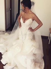 onlybridals Sexy Ruffles Mermaid Wedding Dresses Lace Appliques Ruched Long Bridal Gowns Plus Size Sweetheart Wedding Gowns - onlybridals