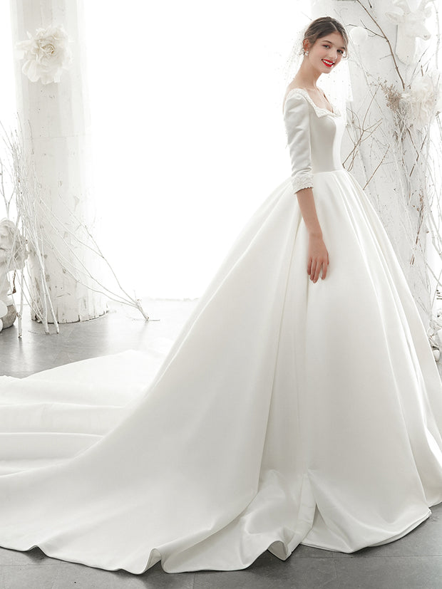onlybridals A-Line Bateau Neck Satin Long-Sleeve Gown wedding dress - onlybridals