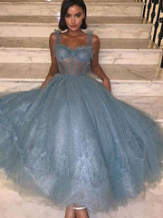 onlybridals Length Blue Prom Dress  Spaghetti Straps Vestido De Festa Simple Formal Party Gowns Special Occasion Prom Gowns - onlybridals