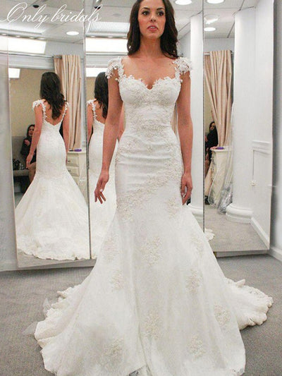 onlybridals White Lace Mermaid Wedding Dresses Sweetheart Wedding Gowns Bride Dresses - onlybridals