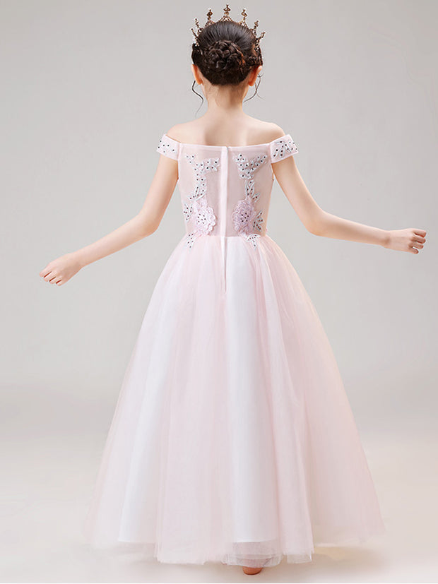 Pink Long Flower Girl Dresses For Wedding Elegant Boat Neck Off The Shoulder Appliques Floor-length Tulle Evning Dresses