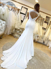 onlybridals Elegant Satin Mermaid Wedding Dresses Sexy Deep V Neck Cap Sleeve Lace Backless Sweep Train Boho - onlybridals