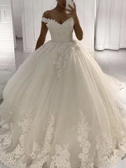 A-line Lace Tulle Wedding Dresses, Ball Gown Dresses, Popular Wedding Gown