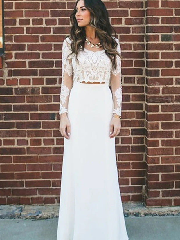 Crew Long Sleeves Two Piece Beach Sheath Wedding Dress with Lace