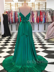 onlybridals  A-Line Two Pieces Green Long Prom Dresses Formal Evening - onlybridals