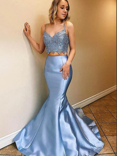 Blue Satin Two Piece Mermaid Lace Long Prom Dresses With Sweep Train
