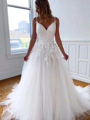 Spaghetti Lace Tulle A-line Wedding Dresses Ivory Popular Bridal Gown, Wedding Dresses
