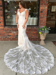 Long Mermaid Lace Strap Ivory Wedding Dress