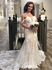 onlybridals Spaghetti Straps Mermaid Lace Wedding Dresses Boho Bridal Gowns vestido - onlybridals
