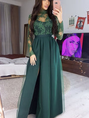 onlybridals Long Sleeves High Neck Green Lace Long Prom Dress, Long Sleeves Green Formal Dress