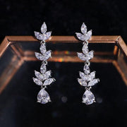 Temperament Super Flash Diamond Necklace Earring Set Bride Wedding Jewelry Dinner Party Jewelry