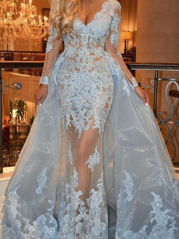 onlybridals Sky Blue  Evening Dresses  Mermaid V-neck Long Sleeves Tulle Lace  Long Evening Gown Prom Dress - onlybridals