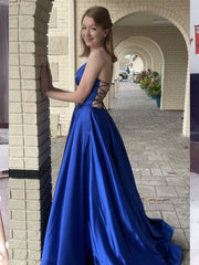 onlybridals  A Line V Neck Backless Royal Blue Satin Long Prom Dress with Pocket